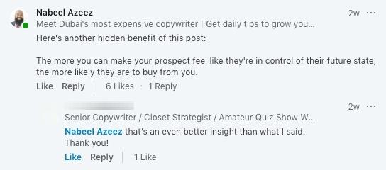 linkedin comments for engagement