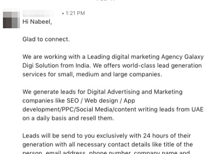 bad example of linkedin sales pitch