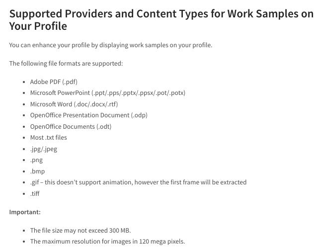 linkedin work samples supported media formats