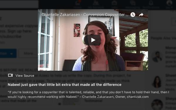 add youtube video testimonials to linkedin