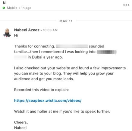 linkedin direct message good example