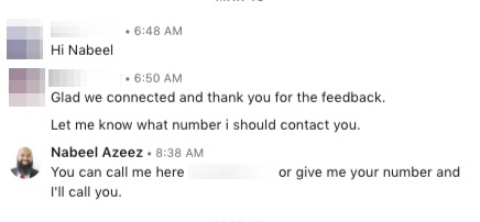linkedin DM successful response
