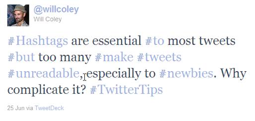 twitter tips too many hashtags