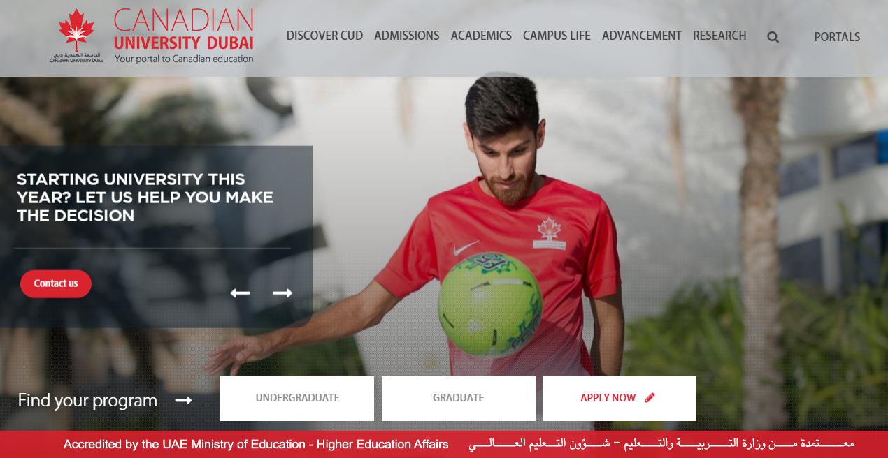 Canadian University Dubai Homepage.png