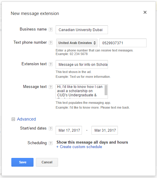 adwords message extension for universities in dubai.png